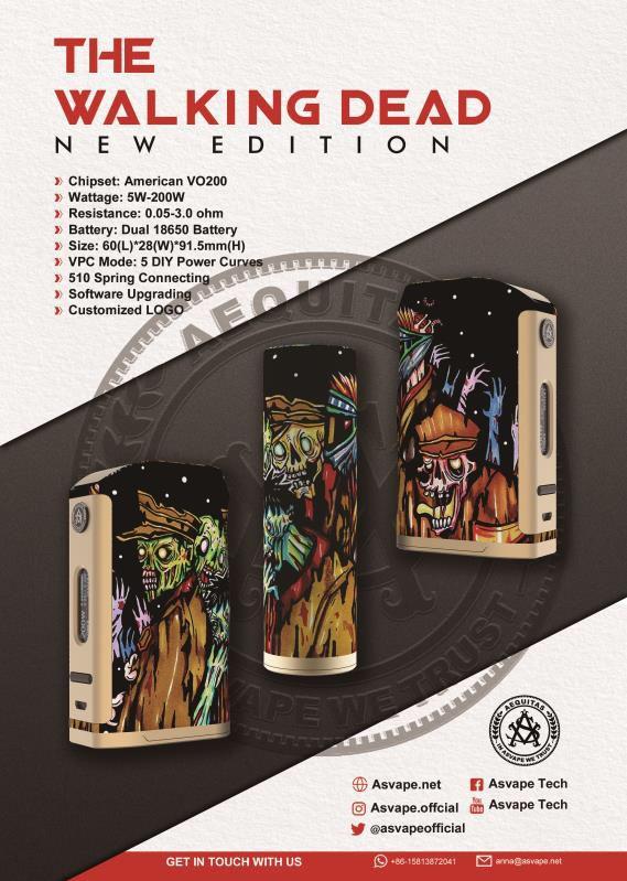 2017 Asvape Michael 200w Mod Devils Night Walking Dead Edition with American VO200 chip .jpg