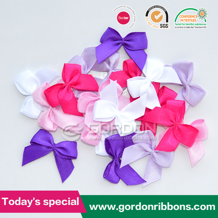 Small solid color satin ribbon lingerie pre made bows