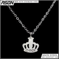 high quality necklace stainless steel 316L Crown pendant with crystal jewelry good price
