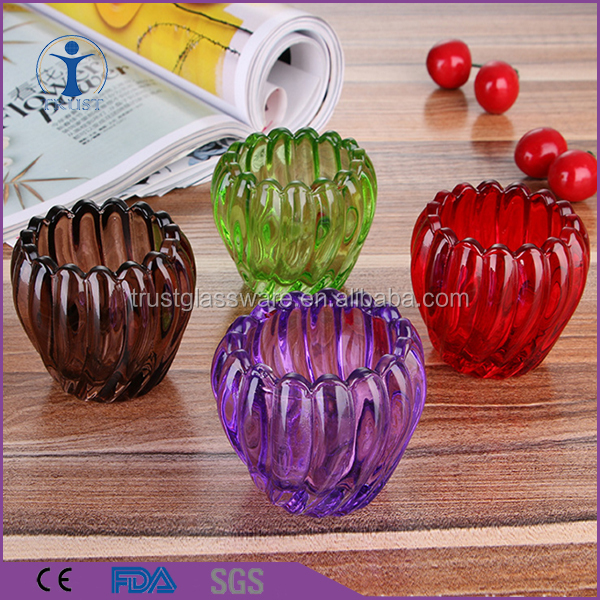 colorful sprayed color pumpkin shaped candle glass