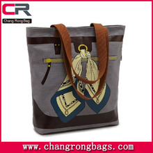 Best seller !! Cheap Grey Canvas Shopping Bag with PU leather handle / Cheap canvas tote bag