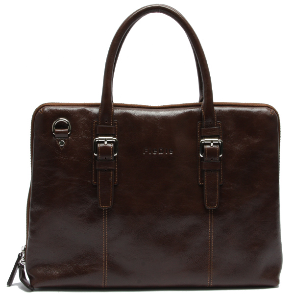 Vintage leather briefcase document bag for business office men