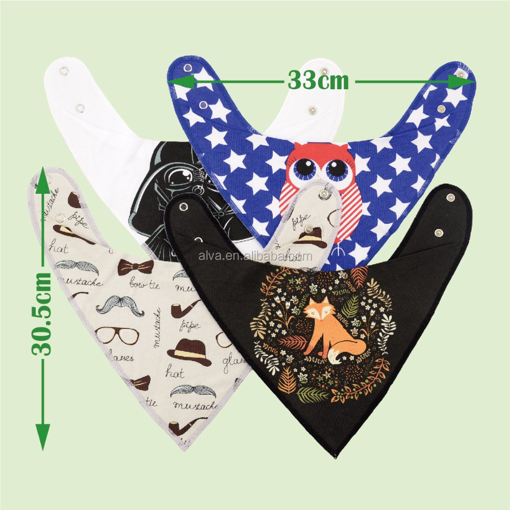 Alva New Design Fashionable Cotton Baby Bibs Waterproof Bandana Bibs