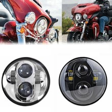 Chrome/Black 5.75Inch Round Headlamp C REE LED Headlight Auxiliary Lamp 6000K for Harley Davidson Daymaker Projector