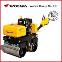 china 0.82 ton walk type double wheel road, small road roller with HONDA engine