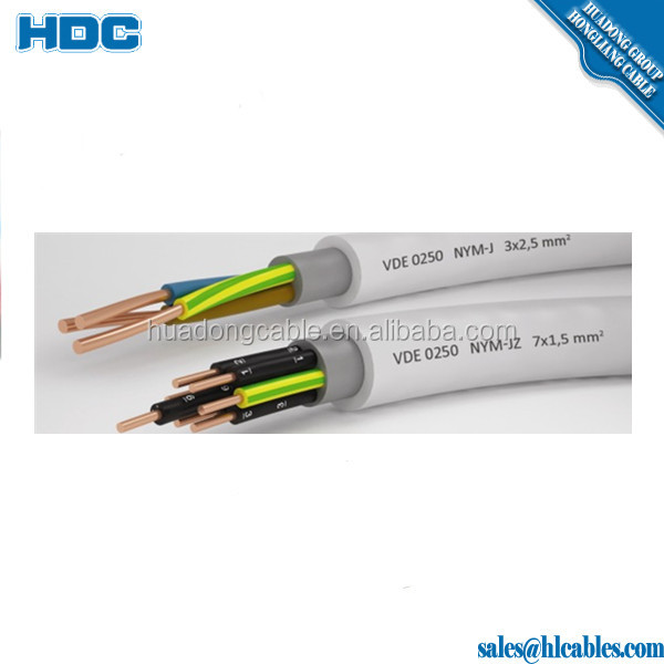 300/500V NYM pvc installation cable 3x2.5mm2 7x1.5mm2 RE Conductor PVC sheath factory price