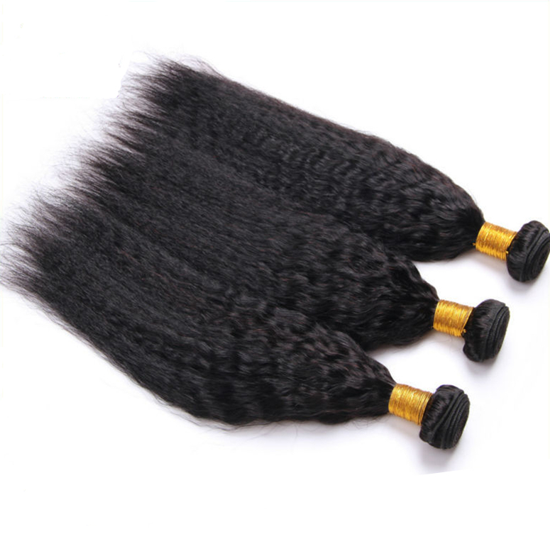 "12""-30"" 6A Unprocessed Brazilian Virgin Hair Kinky Straight 2pc Lot Virgin Brazilian Hair Yaki Straight Hair Extensions"