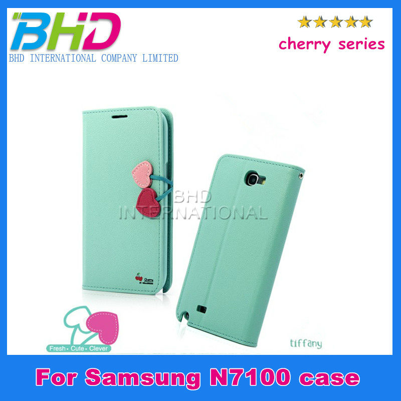 For Samsung Galaxy note 2 N7100 cherry series wallet leather case