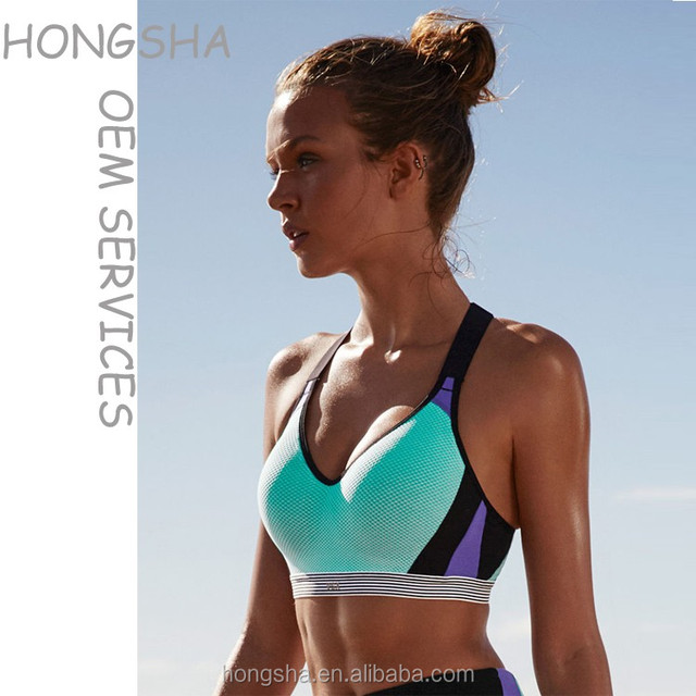 Sexy different kinds of sports wear bra and panty new design high quality sports bra with color combination HSb7274