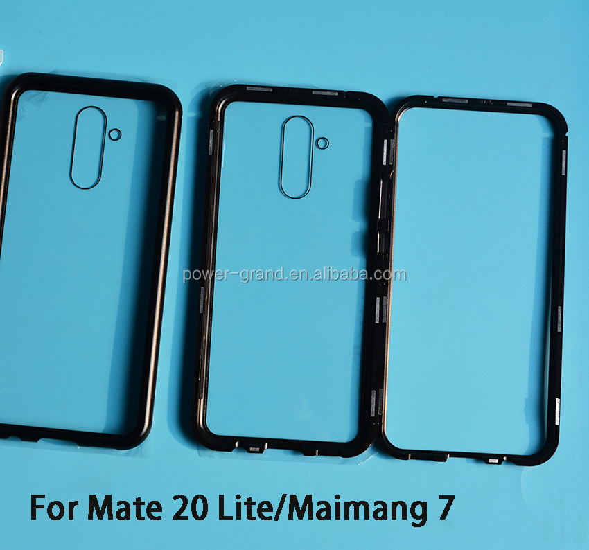 Magnetic tempered glass metal frame bumper phone protective case cover for Huawei Mate 20 Lite Maimang 7