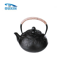0.9L Enamel Metal Cast Iron Big Mapleleaf Teapot Black