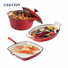 3-Piece Red Cast Iron Porcelain Enamel Cookware Set - Casserole Griddle Gratin
