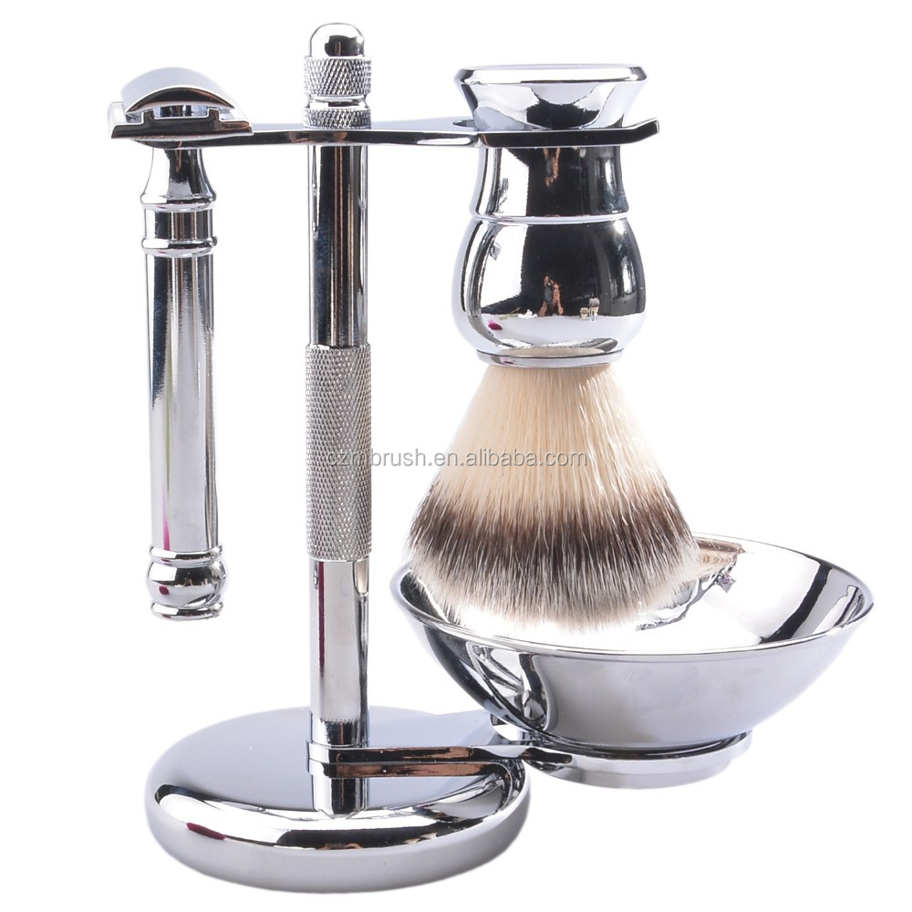 shaving brush razor set with OEM metal handle synthetic hair brush with shaving soap bowl