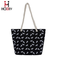 Custom logo fashion ladies printed cotton canvas promotional tote bag for women