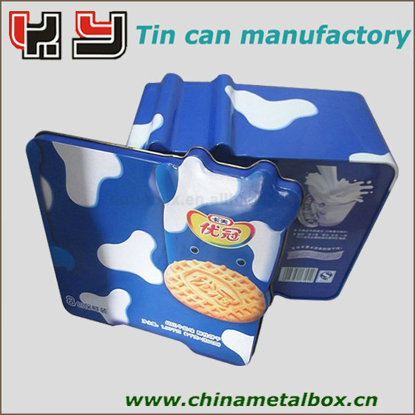 milk white color square biscuit Cans with lid