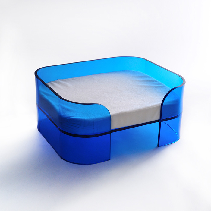 Custom Square Blue Acrylic Pet Bed Plexiglass Bed for dogs and cats