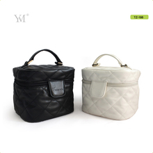 guangzhou oem contents large round barrel zip lock cosmetic bag