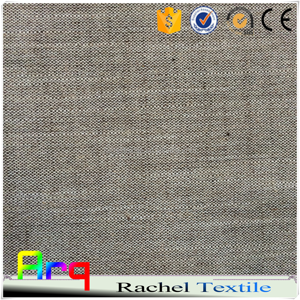 Linen look polyester cotton grey single color fabric heavy curtain/ sofa using high quality