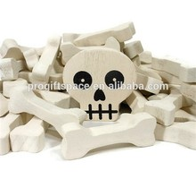 Hot sell natural Skeleton Skull Bones Halloween Craft Supplies Wood Shapes Woodworking Supply made in China