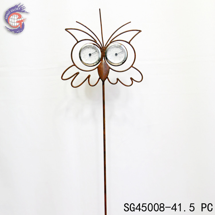 wholesale metal owl ornaments with thernometer