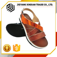 Popular Independent Brand PU Ladies Fancy Flat Sandal Shoes