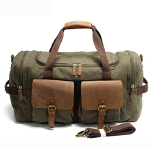 Vintage Canvas Travel Duffel Bag, Canvas Leather Weekender Overnight Bag, Carry on Large Tote Travel Bag for Men and Women