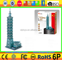 Taipei 101 high quality jigsaw 3d puzzle cn tower architecture model 3D DIY puzzle (68pcs)