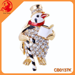 Alloy Bulk Christmas Penguin Design Rhinestone Wedding Brooches Wholesale Crystal Brooch Pin In Stock