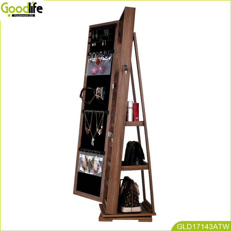 Goodlife new design rotating jewellery cabinet made of African teak wood