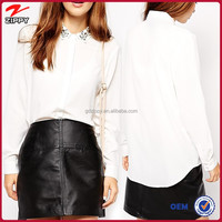 New fashion jewelry neck detail ladies blouse design