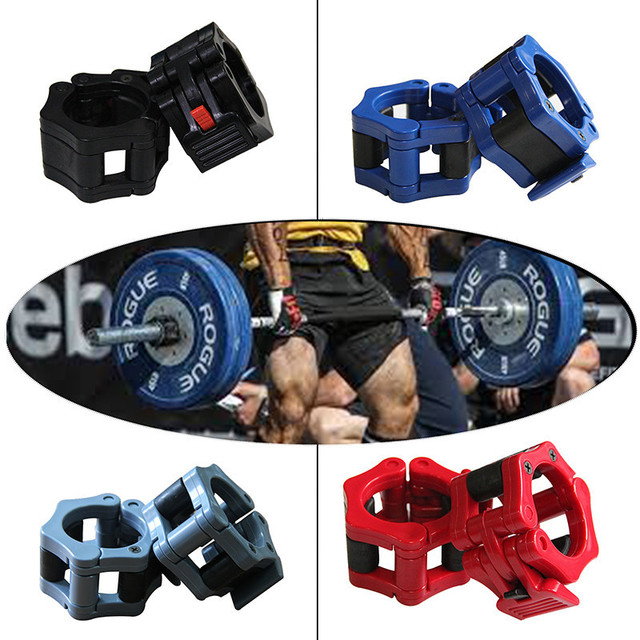 50mm Olympic Barbell Clamp Collar Clip Weight Dumbbell Spinlock Lift guantes gym weight lifting body building