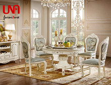 Wholesale European style German cheap antique master design dining room furniture set marble round table and chair set