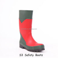 2016 Men Boots ,Pass S3 Certification Safety Boots ,Rubber Knee Waterproof Work Boots With Steel Toe And Steel Shank Rain Boots
