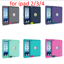 alibaba stock for ipad 2/3/4 smart cover colorful robot phone case silicone+pc+tpu Shockproof hybrid rubber armor cases cover