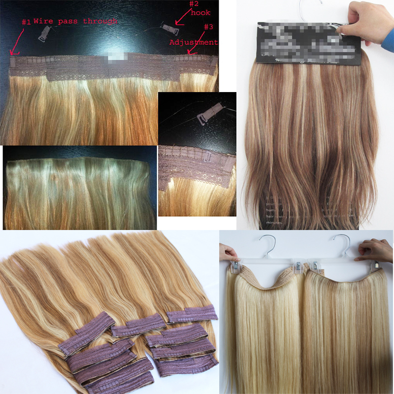 Brazilian human fish wire hair extension