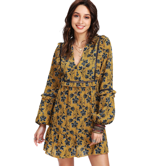 Latest Design Fashion Casual Dress Type Short A Line Petite Floral Print Women Dress