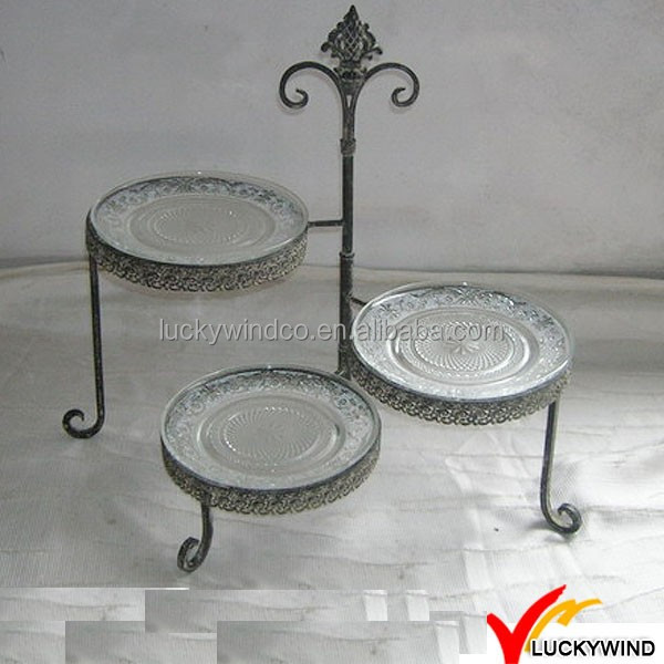 Antique decorative folding metal glass cake stand