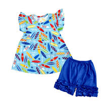 Summer Kids Girls Clothing Crayon Model Sleeveless Ruffle Short Pants Boutique Outfits