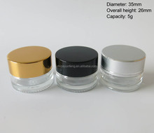 5G mini glass cosmetic cream jars with smooth gold,black,sliver aluminum lid
