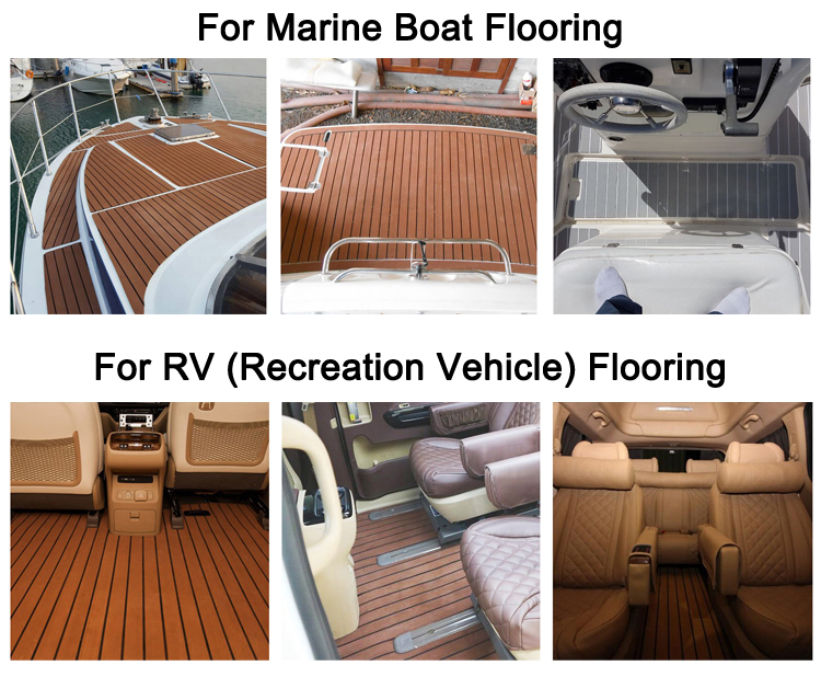 Melors 90in x 35in Marine Decking EVA Heat Resistant Faux Teak Flooring