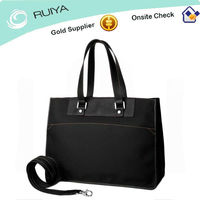 Good price Nylon and Leather Tote Bag with removable strap Multifunctional Handbag with lots of interior pockets Unisex-HB-033