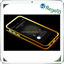 Shockproof In Coming Call LED Flash Light TPU PC Transparent Rock Case for iPhone 6