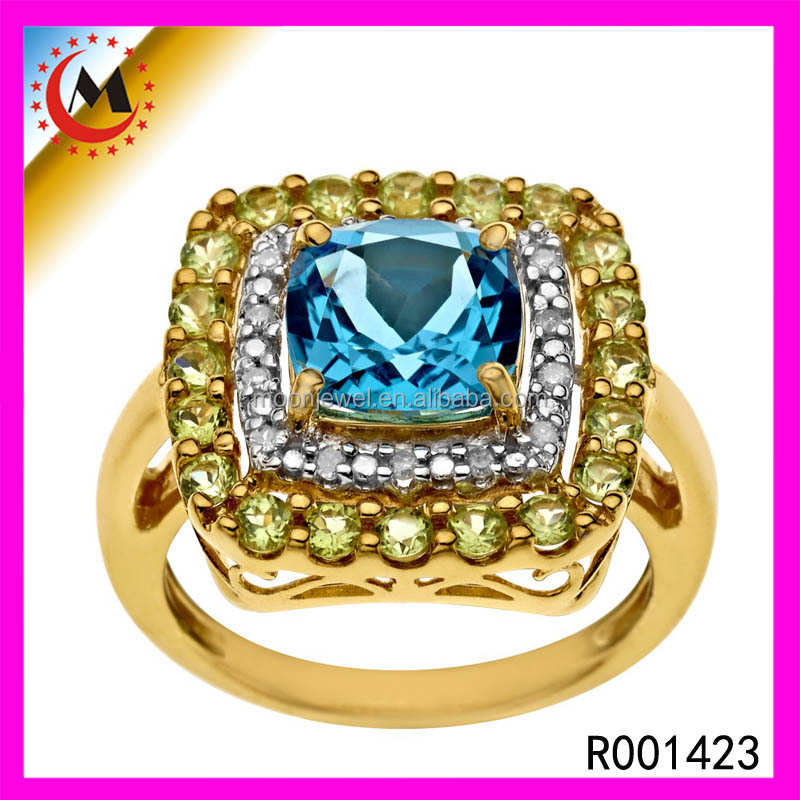 London Blue topaz 1 Gram Gold Ring Designs Big Champion Square Ring