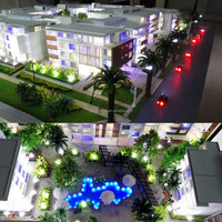 Apartment building model for exhibition with led light, miniature architecture model
