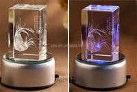 3d laser engraving crystal block/cube with led base