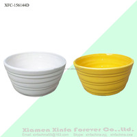 high white and yellow ceramic plant flower pots