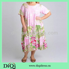 Plus Size Pink Tropical Print Casual Dress for women