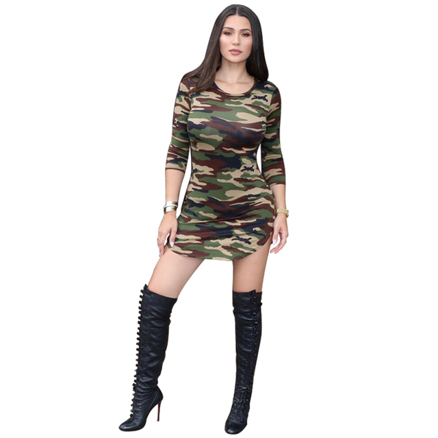 Camouflage Printed Side Slit Mini Dress Fall Winter Women 2017