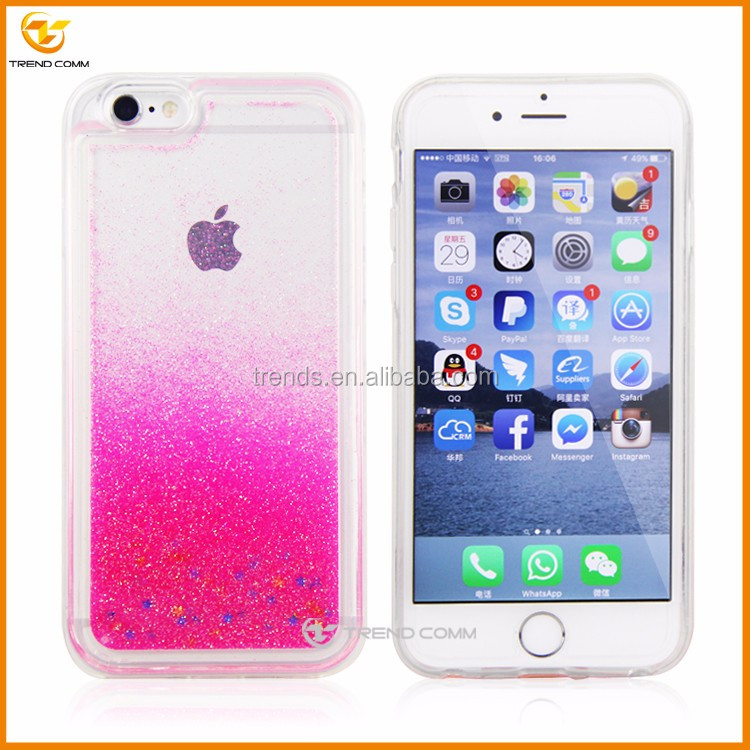 3d liquid glitter water phone case for iPhone 6 plus