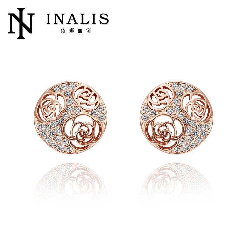 Micro pave flower pattern fancy gold earrings for party girls